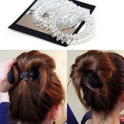 5x Trendy Clear Elastic Rubber Hairband Phone Wire Hair Tie Rope Band Ponytail~