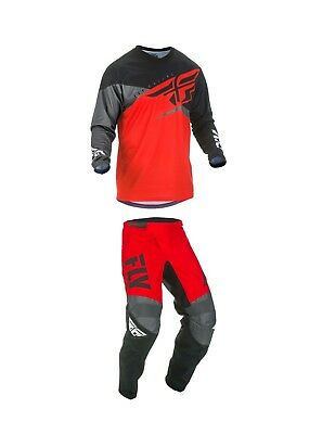 Fly Racing Youth F-16 Motocross Pants/Jersey Set Red/Black/Gray