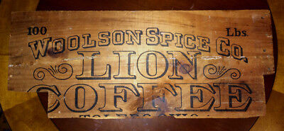 VINTAGE 1920-30s WOOLSON SPICE CO LION COFFEE 100LB WOODEN CRATE LID - TOLEDO OH