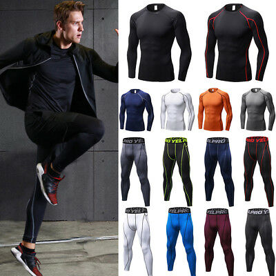 Mens Compression Shirts Pants Leggings Tops Thermal Base Layer Sports Underwear