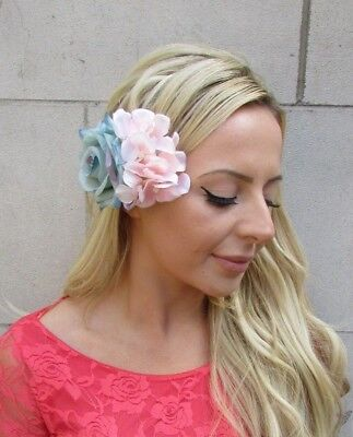 Turquoise Green Blush Light Pink Rose Hydrangea Flower Hair Clip Fascinator 6231