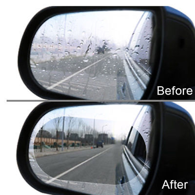 2x Car Rearview Mirror Waterproof Membrane Anti-glare Anti-fog Film Scratchproof