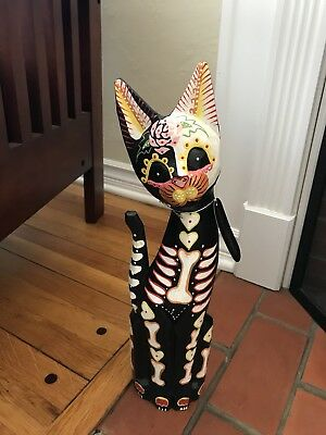 """16"""" Day of the Dead Dia de los Muertos Wood Cat Halloween Decor from Indonesia"""