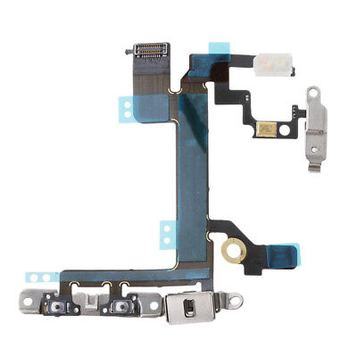 For iPhone 5s Power and Volume Control MIC Flex Cable with Metal Bracket