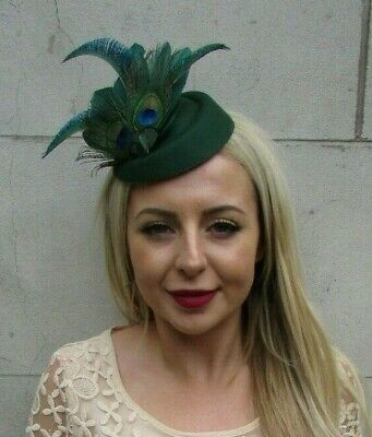 Bottle Dark Green Peacock Feather Pillbox Hat Hair Clip Fascinator Races 7221
