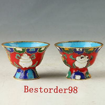 A Pair Chinese Cloisonne Handwork Carved Exquisite Cups CC0543