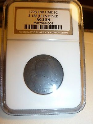 1798 S-186 JULES REIVER Collection NGC AG 3 BN