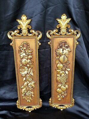 2 Vtg Homco Home Interiors  Syroco Ornate Gold Fruit Flowers Wall Art Decoration