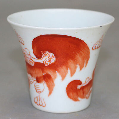 Chinese old hand-carved porcelain red glaze red lion pattern Kung fu tea cup b02