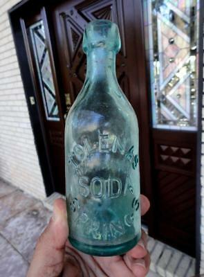 Deep Aqua BLOB TOP Tolenas Soda Springs MINERAL WATER BOTTLE ~late 1800's~
