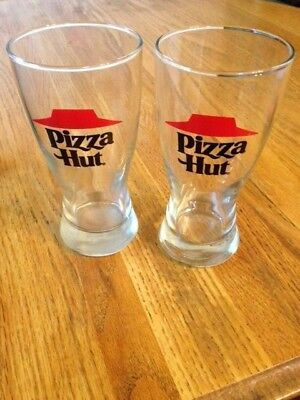 """Lot Of 2 Vintage Pizza Hut Pilsner Beer Glasses 10 Ounce 5-3/4"""" Tall Late 70's"""