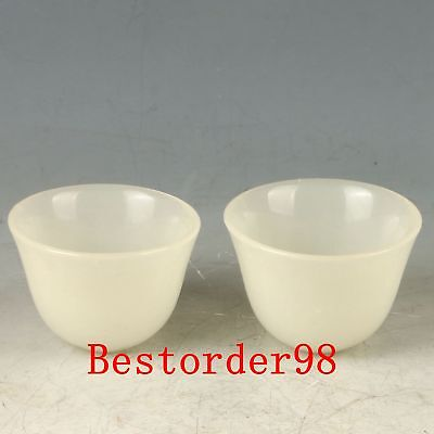 A Pair Exquisite Jade Handwork Carved Cups CC0628
