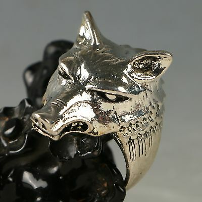 Exquisite Tibet Silver Handwork Carved Wolf Head Ring CC1174