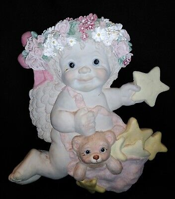 DREAMSICLES Angel Wall Hanging Cast Art Plaque Signed Kristin 97