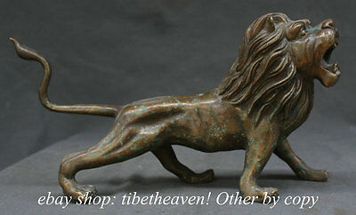 """15"""" Ancient Chinese Bronze Fengshui Running Lion Foo Dog Guardion Animal Statue"""