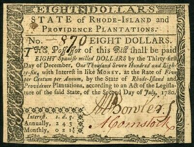 Rhode Island $8 Continental Currency Metcalf Bowler Traitor Signed Au 7/2/1780