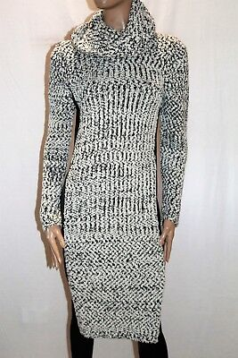 ONCE WAS Melbourne Brand Black White Wool Sweater Dress Size 1 LIKE NEW  #AN02