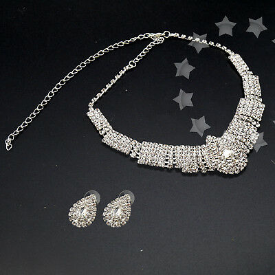 Diamante Crystal Earrings Necklace Set Evening Party Wedding Bridal Jewelry