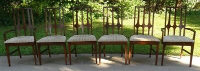 SIX Mid Century Broyhill Brasilia Set Dining Room Chairs