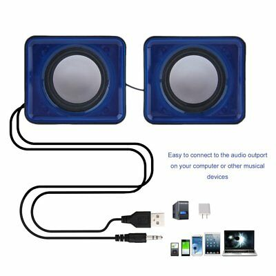 A Pair USB Multimedia Mini Speaker 3.5mm Jack for Computer Desktop PC Laptop AZ