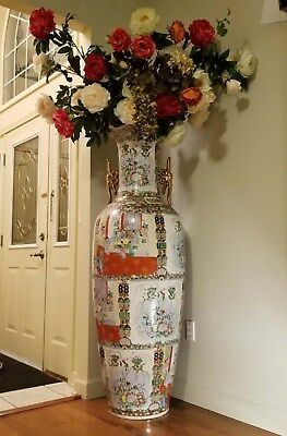 Qing Dynasty (Qianlong)Export Famille Rose Floor Vase with official seal 19th c