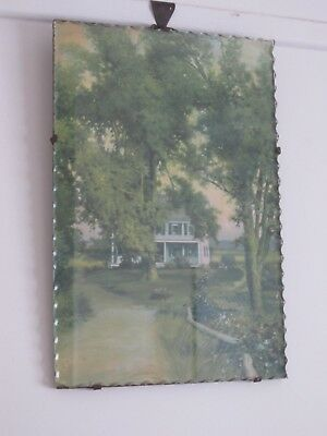 Antique Art Deco Piecrust Edge Glass Front Tranquil House In The Wood Picture