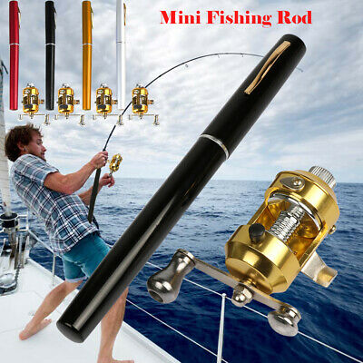 Mini Portable Telescopic Pocket Fish Pen Aluminum Alloy Fishing Rod Pole + Reel