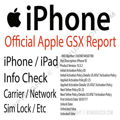 APPLE OFFICIAL IPHONE IMEI Network Carrier Check & SIM Lock Status (GSX  Report)