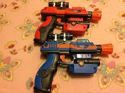 Lot of 2 Jakks Pacific XTREME TARGET Laser Challenge Lazer Tag Red Blue Gun Rare
