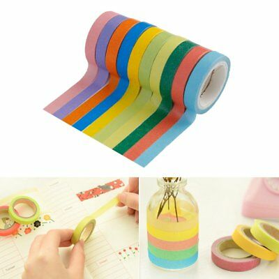 10 x Colorful Candy Masking Tape Mini Set Colour Box 8MM Washi Decor Sticky AZ