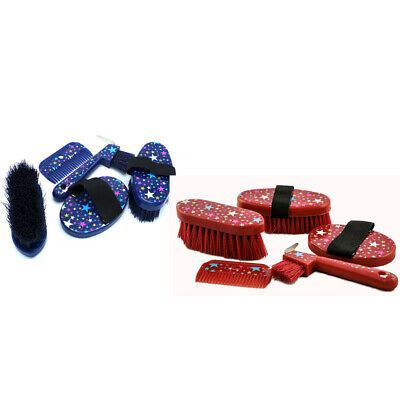 New Brush Grooming Kit horse pony Starburst 5 pieces  Blue or Red FREE Bag