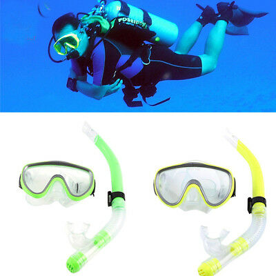 Adult Child Tempered Glass Diving Mask  Breathing  Snorkel Tube Scuba Snorkeling