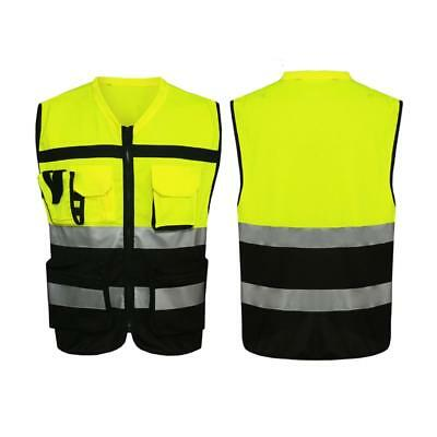 Hi-Vis Safety Vest Reflective Driving Jacket Worker Night Security Waistcoat Kit