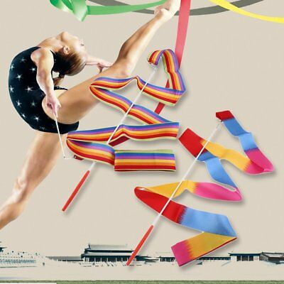 4M Universal Gym Dance Ribbon Rhythmic Gymnastic Streamer Twirling Rod Stick AZ