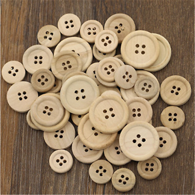 50X 4-Holes Mixed Wooden Buttons Natural Color Round Sewing Scrapbooking CN88