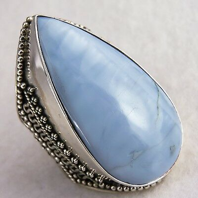 Superb VINTAGE STATEMENT Ring US 11 SilverSari Solid 925 Silver BLUE OPAL OWYHEE