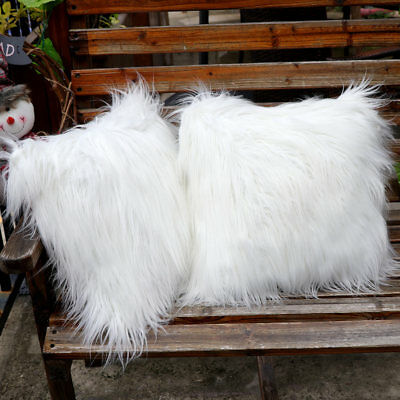 White Fluffy Faux Fur Plush Pillow Case Cover Cushion Cover Home Sofa Decor 18""