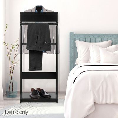 Valet Clothes Stand Timber Mens Jacket Suit Shelf Shoe Hanger Storage @SAV