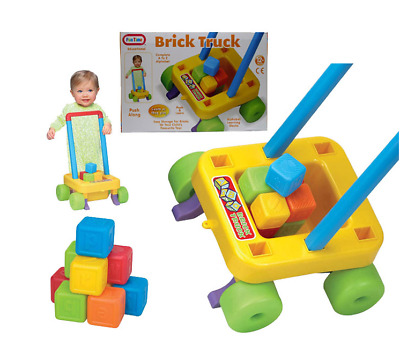 Baby Toddler Fun Time Push Along Walking Learning Brick Truck Toy NEW