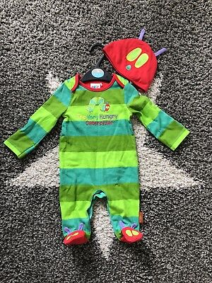 Baby The Hungry Caterpillar Sleepsuit/Romper Outfit & Hat -Up To 3 Months