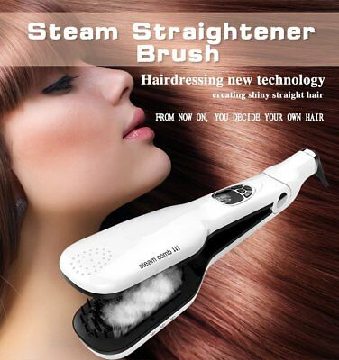 Pro Hair Straightener Steam Brush Flat Iron Comb Haircare Styling Tool BP