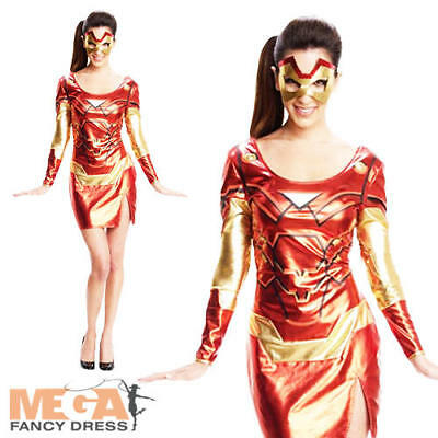 Miss Iron Man Ladies Fancy Dress Marvel Avengers Superhero Adults Costume Outfit