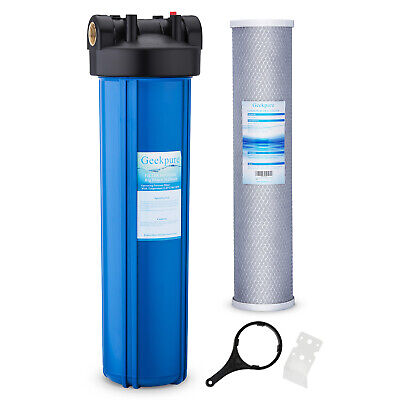 """20"""" x 4.5"""" Big Blue Whole House Water Filter Housing with Carbon Block Filter"""