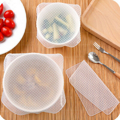 4x Reusable Silicone Seal Wrap Stretch Lid Food Fresh Bowl Kitchen Cover