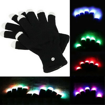 Pair Rainbow Flow LED Light Black Gloves Rave Party Glow Games Night fun 6 modes