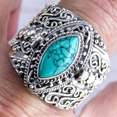 Poison/Pill Box Size US 9 SILVERSARI Ring Solid 925 Sterling Silver + TURQUOISE