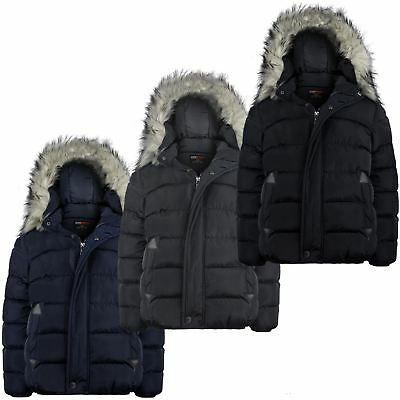 Boys Winter Padded Detach Hood Jacket Teenagers Plain Fleece Lining Coat 3-14 Y
