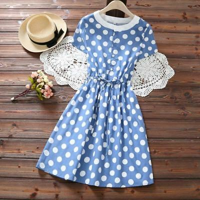 Women Dot Pattern Cotton Blend Blue Color Short Sleeve Round Neck A Line Dress