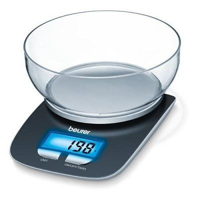 Beurer KS25 Electronic Digital Kitchen Scales with Bowl and Illuminated Display