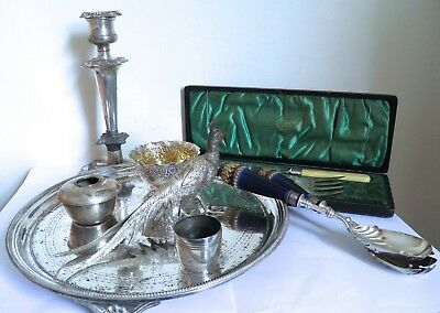 Job Lot of Antique Vintage Silver Plate Drinks Tray Candlestick Cutlery etc